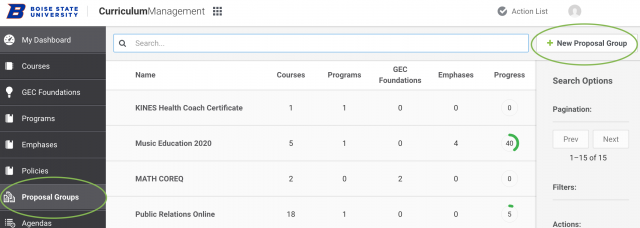 Proposal groups, add new proposal groups screenshot