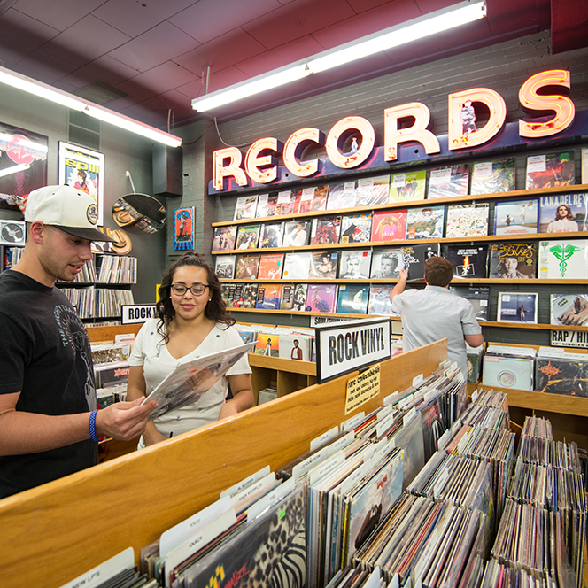 Boise State students browse at the Record Exchange in downtown