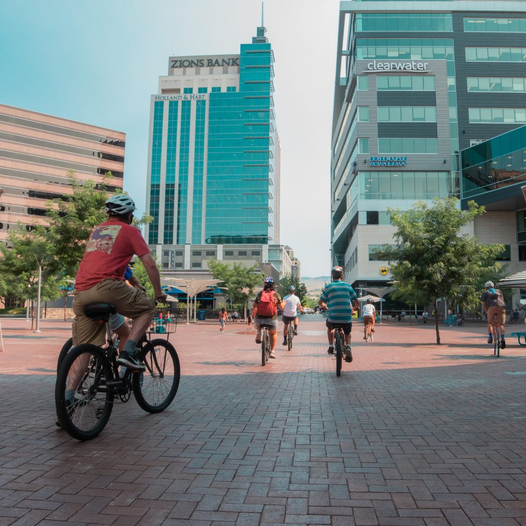 Visitors can take a guided bike tour of Boise State University and downtown Boise