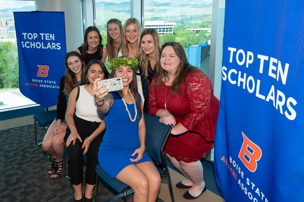 Top Ten Scholars taking a selfie