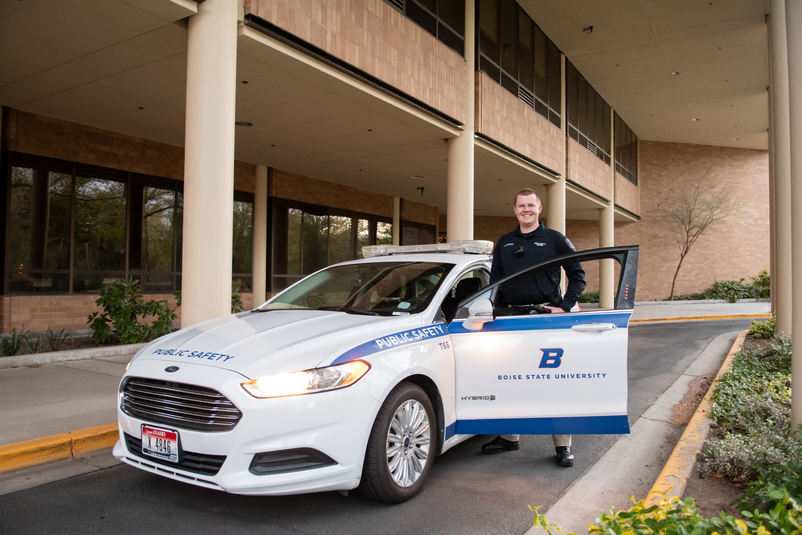 Brent Wilkinson is a public safety officer and a Boise State student majoring in psychology, with a minor in criminal justice. Photo, Patrick Sweeney.