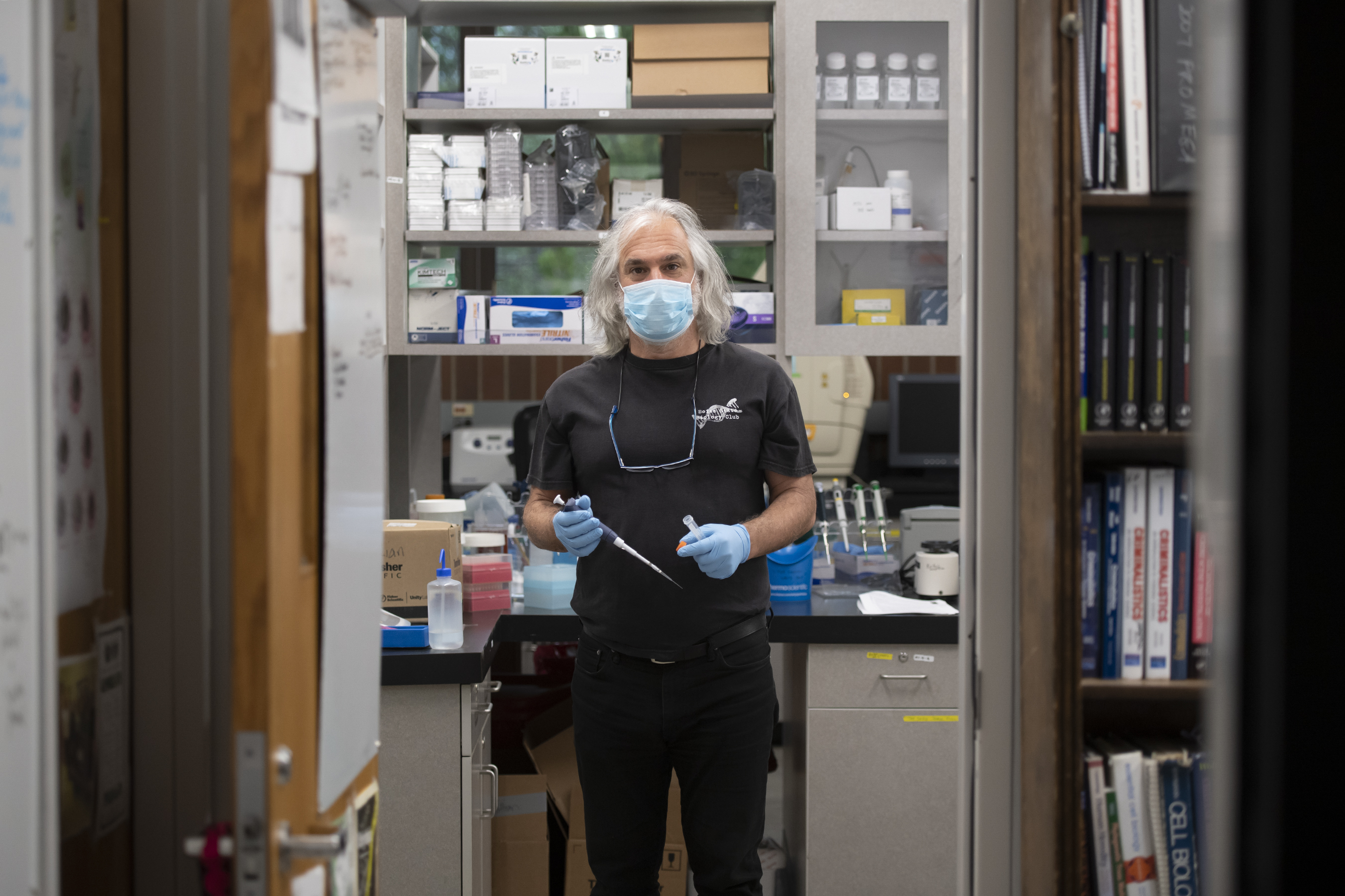 Greg Hampikian, co-director of the Idaho Innocence Project, has kept his lab up and running, including working to map out a mitochondrial DNA strategy that led to an arrest in a nearly 20-year old cold case. Photo, John Kelly.