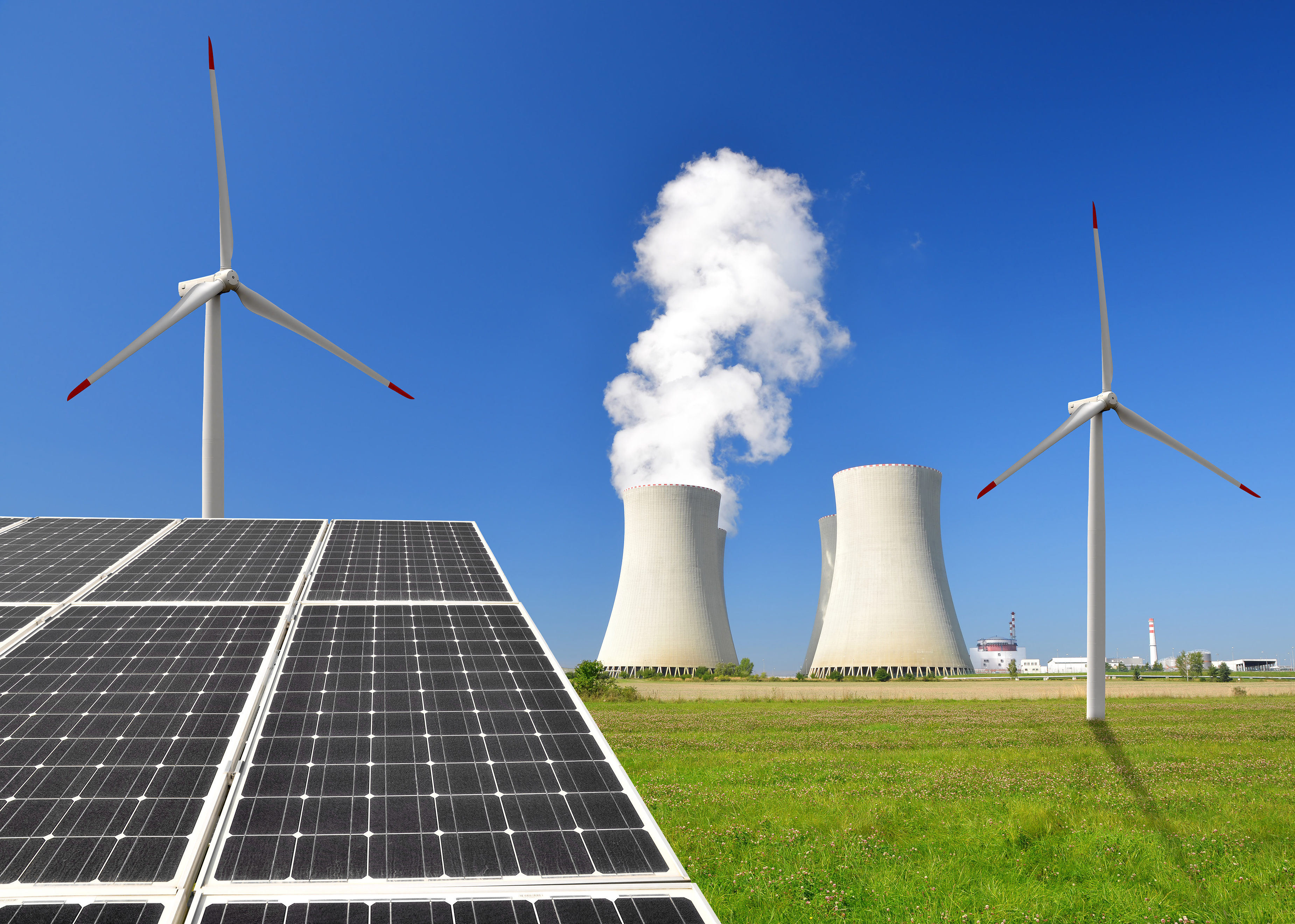 solar panel, wind turbines and nuclear power plant