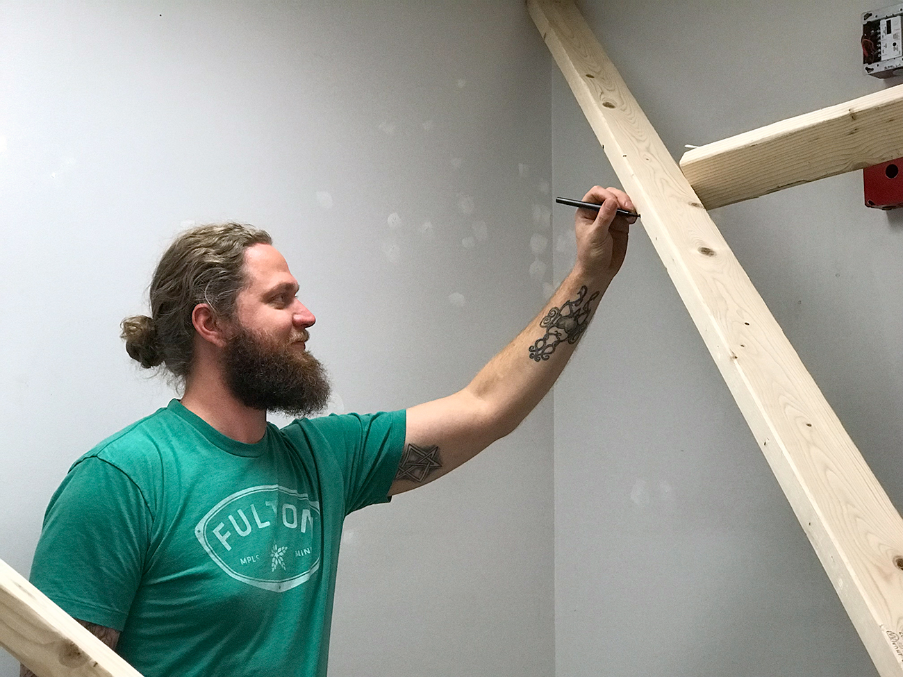 MFA student working on project
