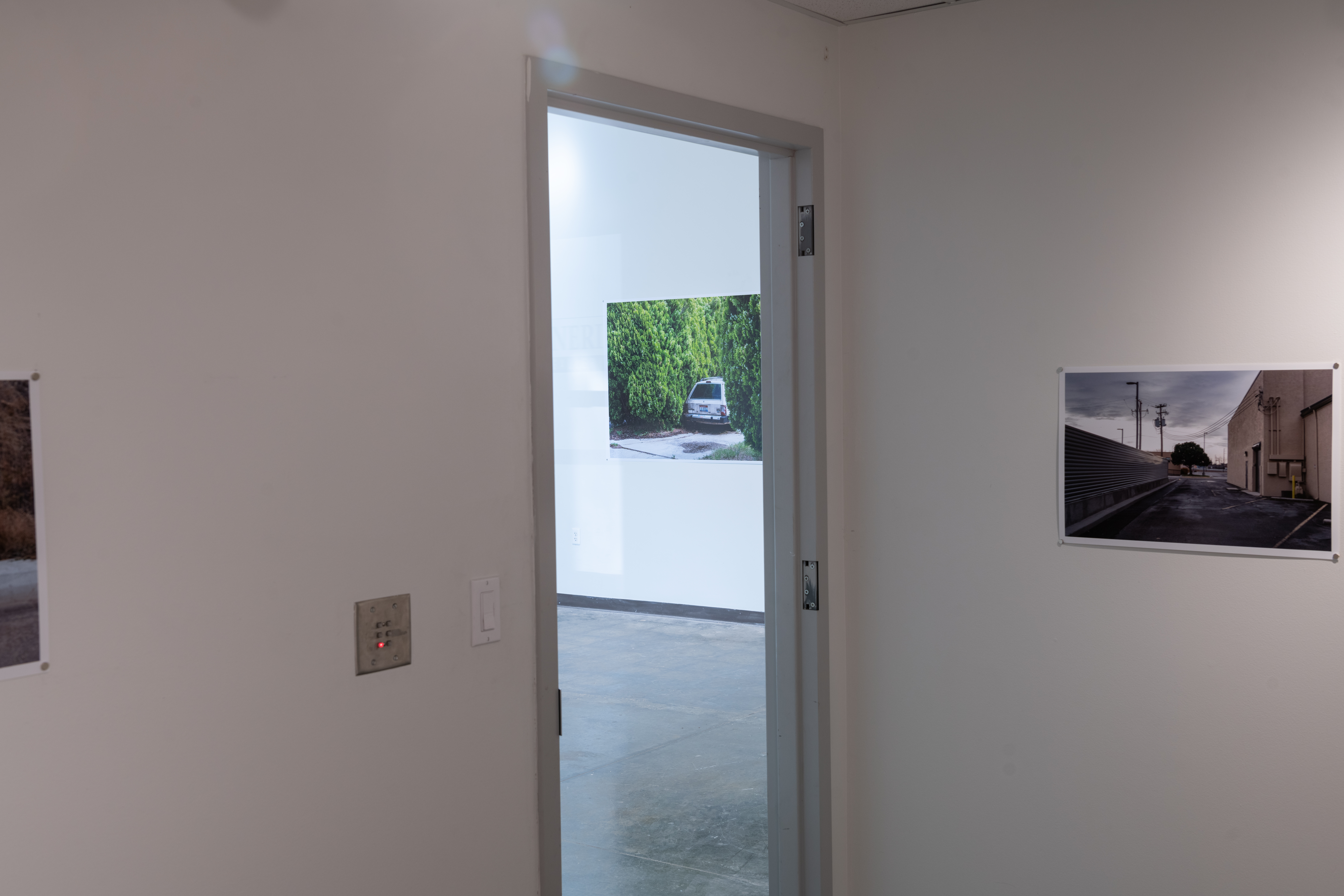 View of Zhang photo installation, right - photo of an alley with blacktop pavement, tan building right; and left - large shrubs enveloping the back of a car in a driveway.