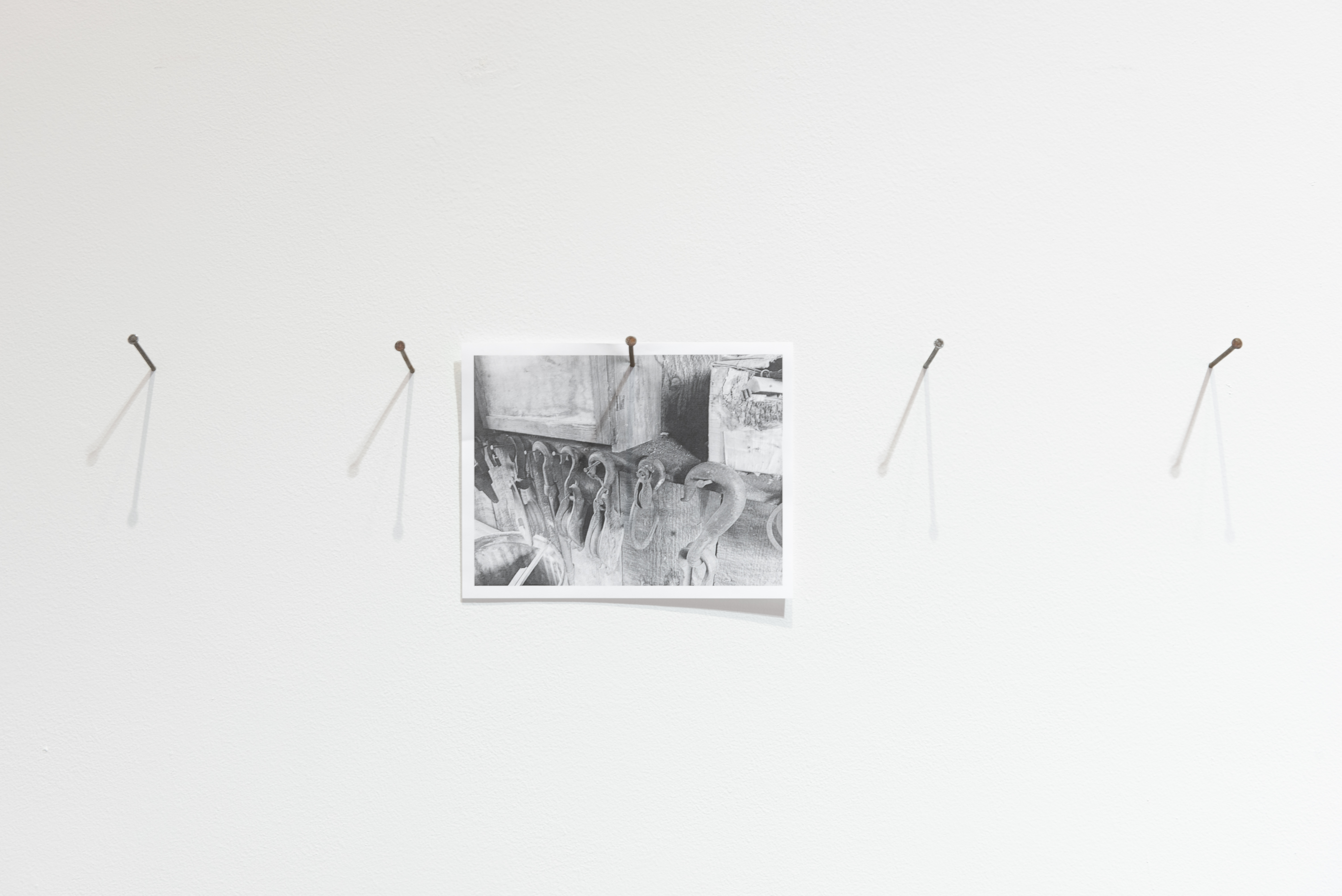Image of Untitled 2 artwork installation with black and white photo nailed to the gallery wall.