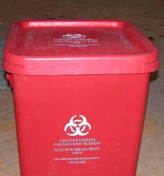 photo shows a properly secured waste container