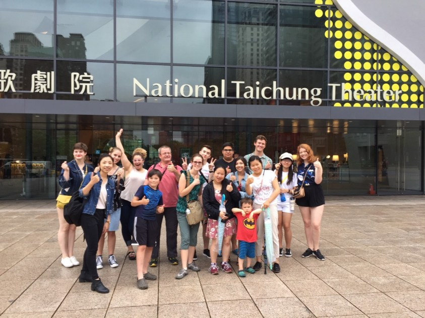 group in front of Taichung Theater