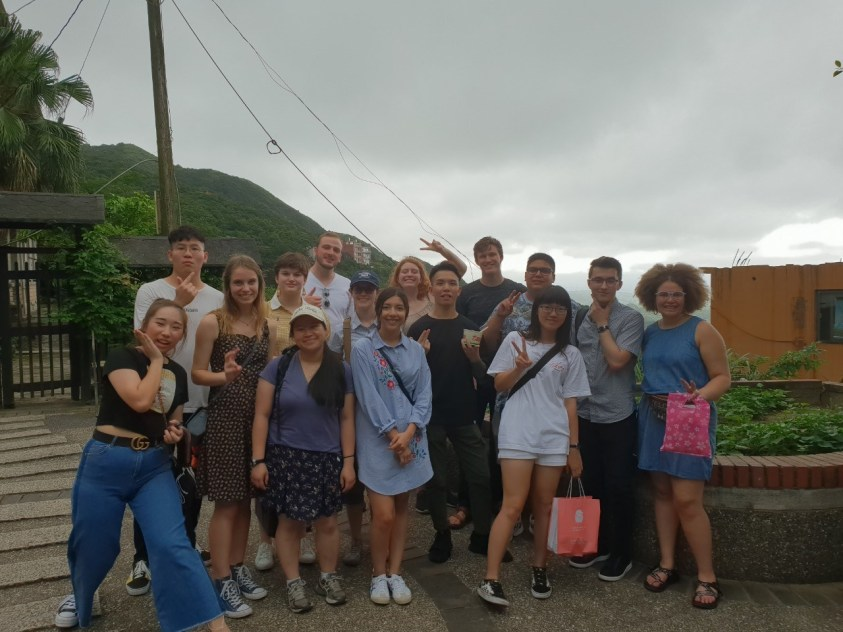 group picture along road