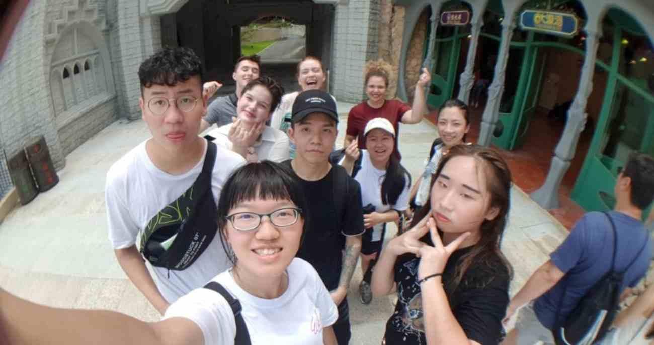 group at amusement park