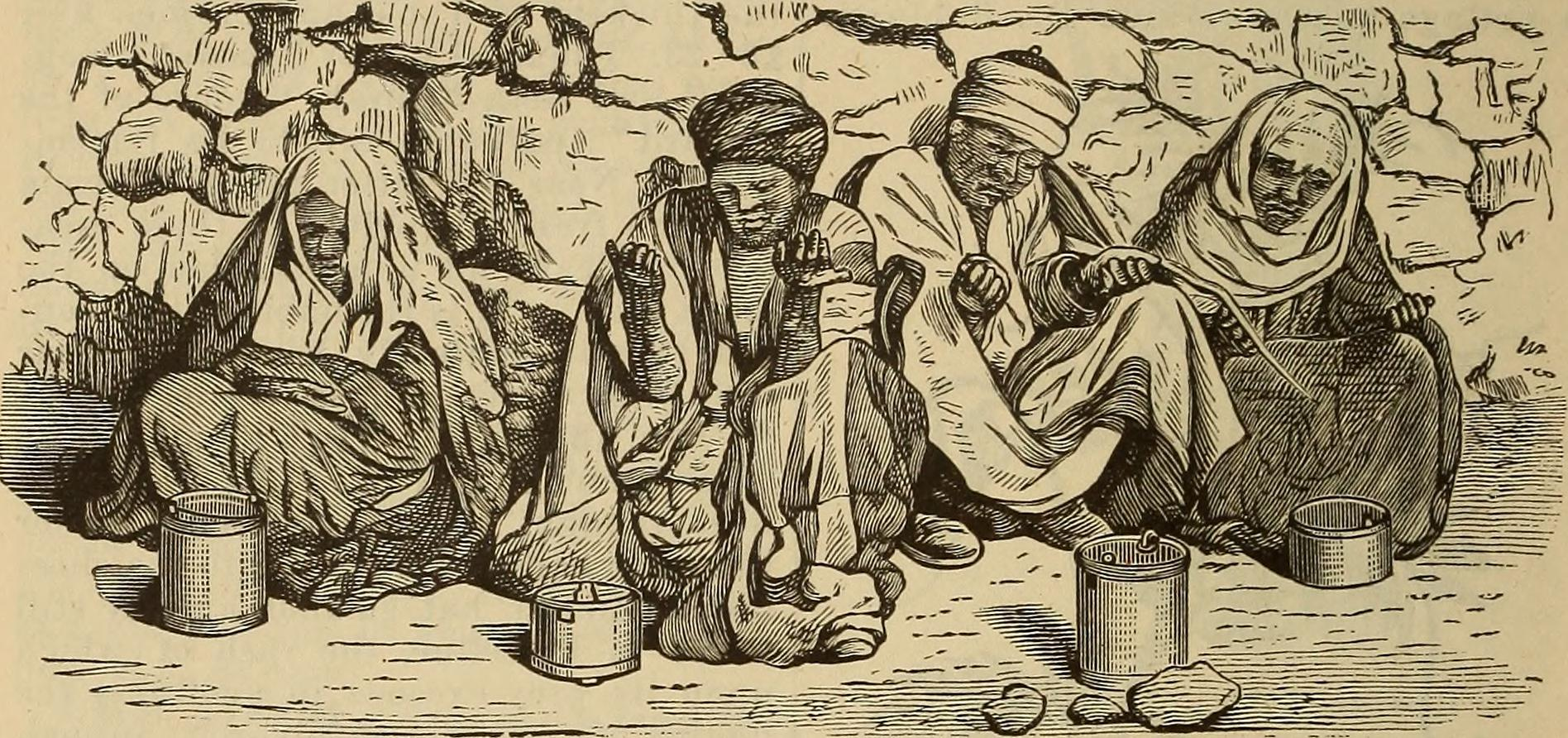 four people affected by leprosy, woodcut