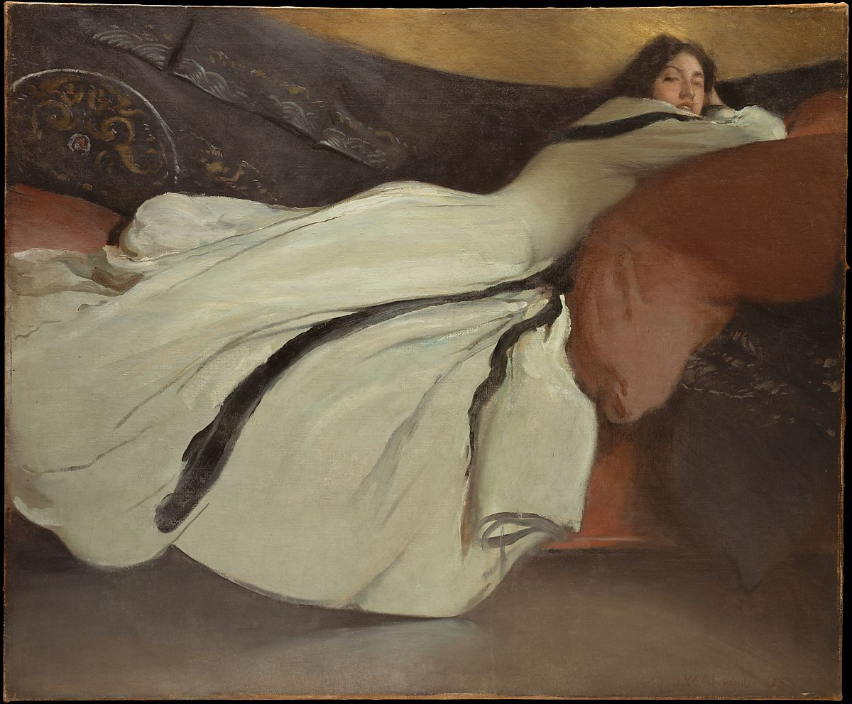 Woman lying across a couch, painting