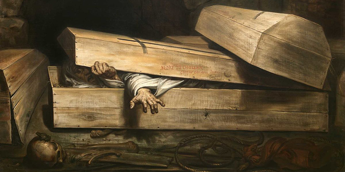 Person struggling to crawl out of a closed casket, painting