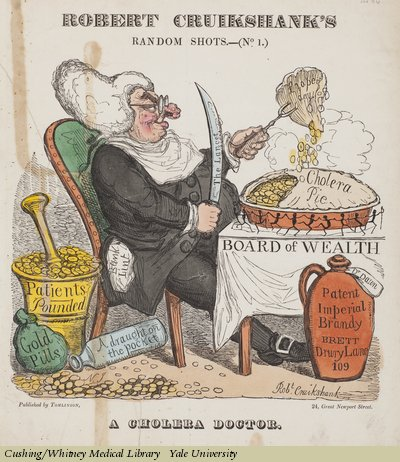 Man feasting on cholera pie surrounded by liquor and wealth built on patients and gold pills, cartoon