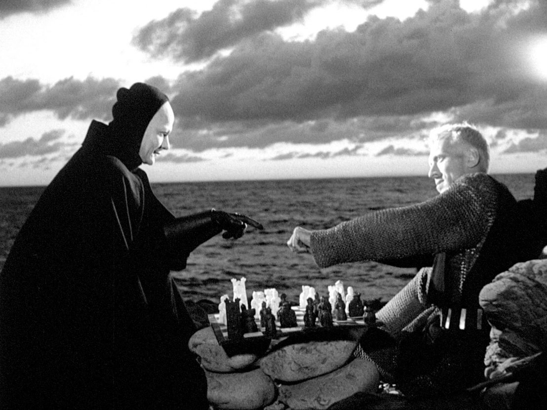 death playing chess with man, photo