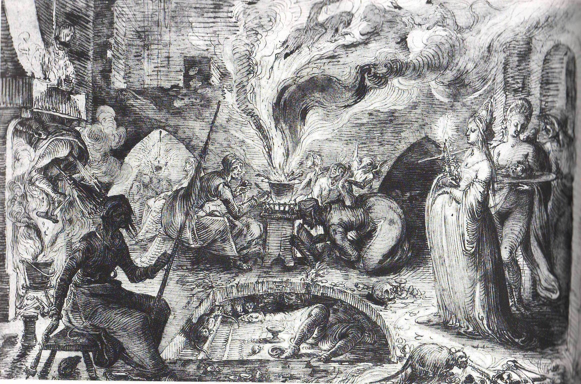 People around a cauldron spewing smoke, religious figures standing amid the chaos