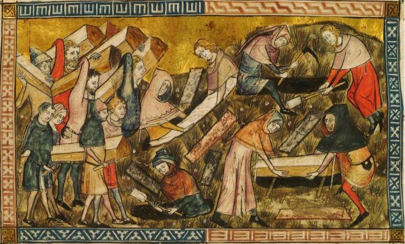 Multiple coffins being laid in freshly dug graves, tapestry