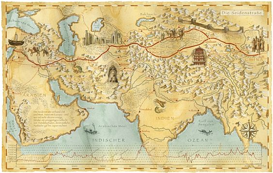 map from China spreading through India and onto the Arabian peninsula