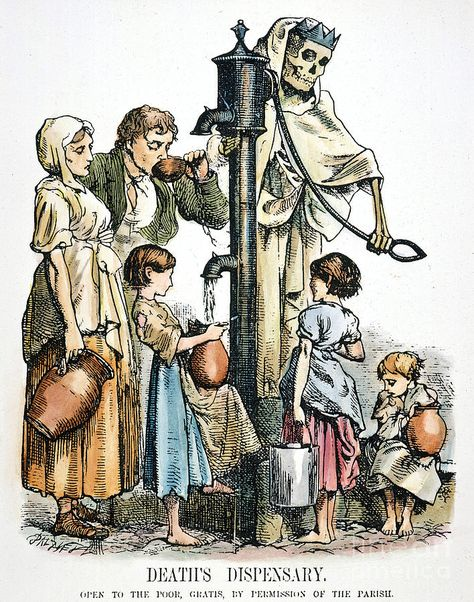 Man, Woman, and children filling water from a pump operated by a skeleton. Death Dispensary. Open to the poor, gratis, by permissions of the parasite