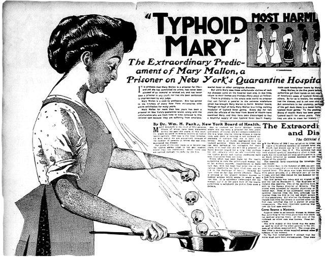 Typhoid Mary The extraordinary predicament of Mary Mallon, a prisoner of New York's Quarantine hospital, news clipping