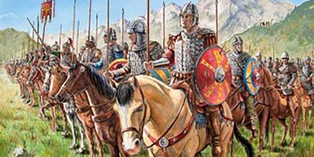 Roman soldiers on horseback, painting