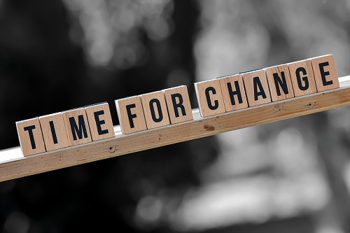 """Scrabble letters that spell out """"Time for Change"""""""