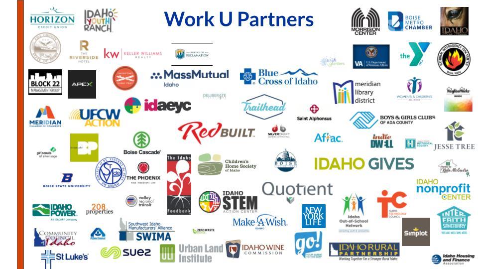 Logos of Work U employer partners