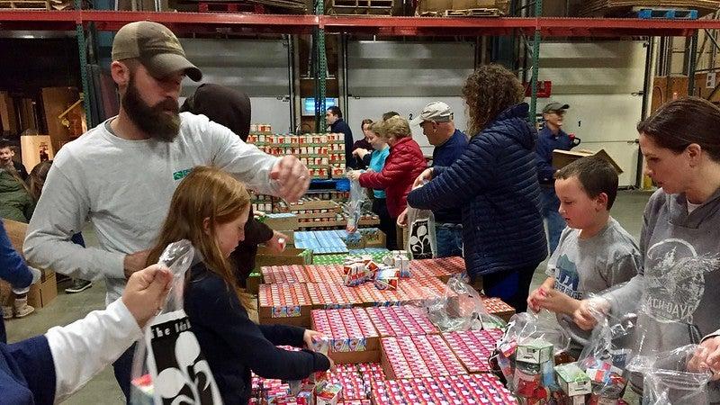 Volunteers working at the Idaho Food Bank