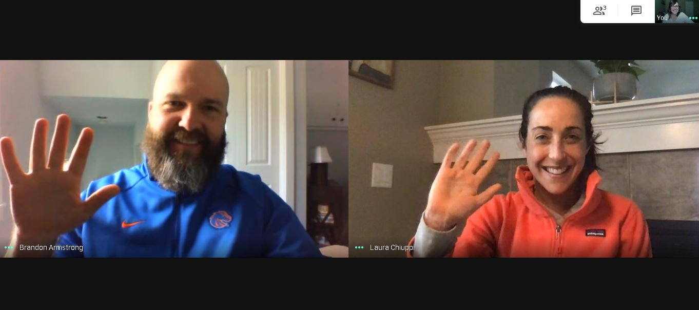 Career coaches Laura and Brandon waving to their web cameras