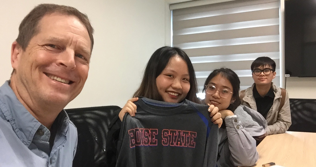 Jonathan Krutz with 3 potential Boise State students
