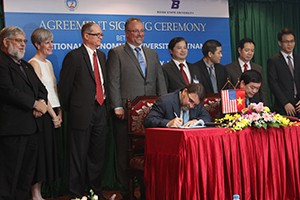 Boise State and National Economic University of Vietnam sign partnership agreement