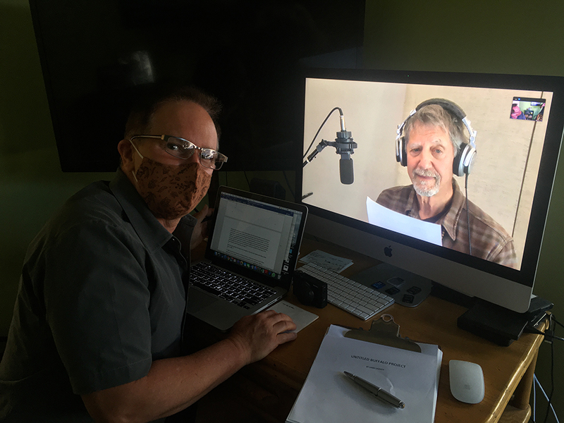 Larry Laverty and Peter Coyote recording Where the Buffalo Roam