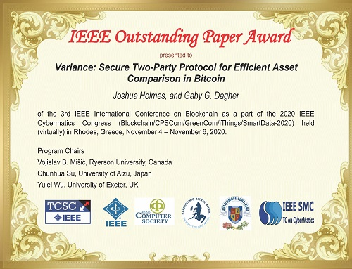 Digital scanned copy of Best Paper award certificate presented to Joshua and Dr. Dagher