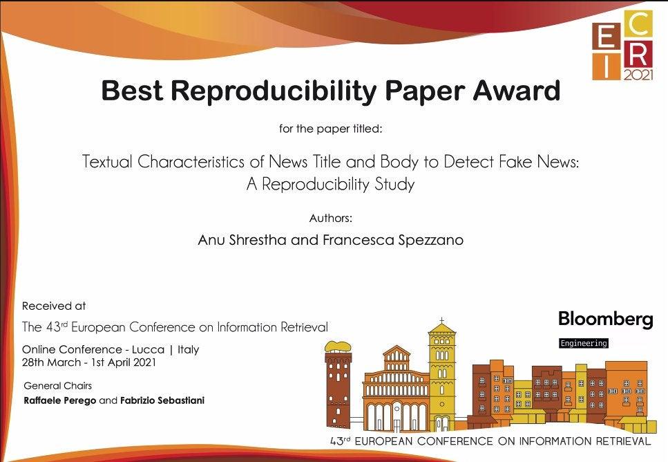 Digital award certificate for Best Reproducibility Paper Award