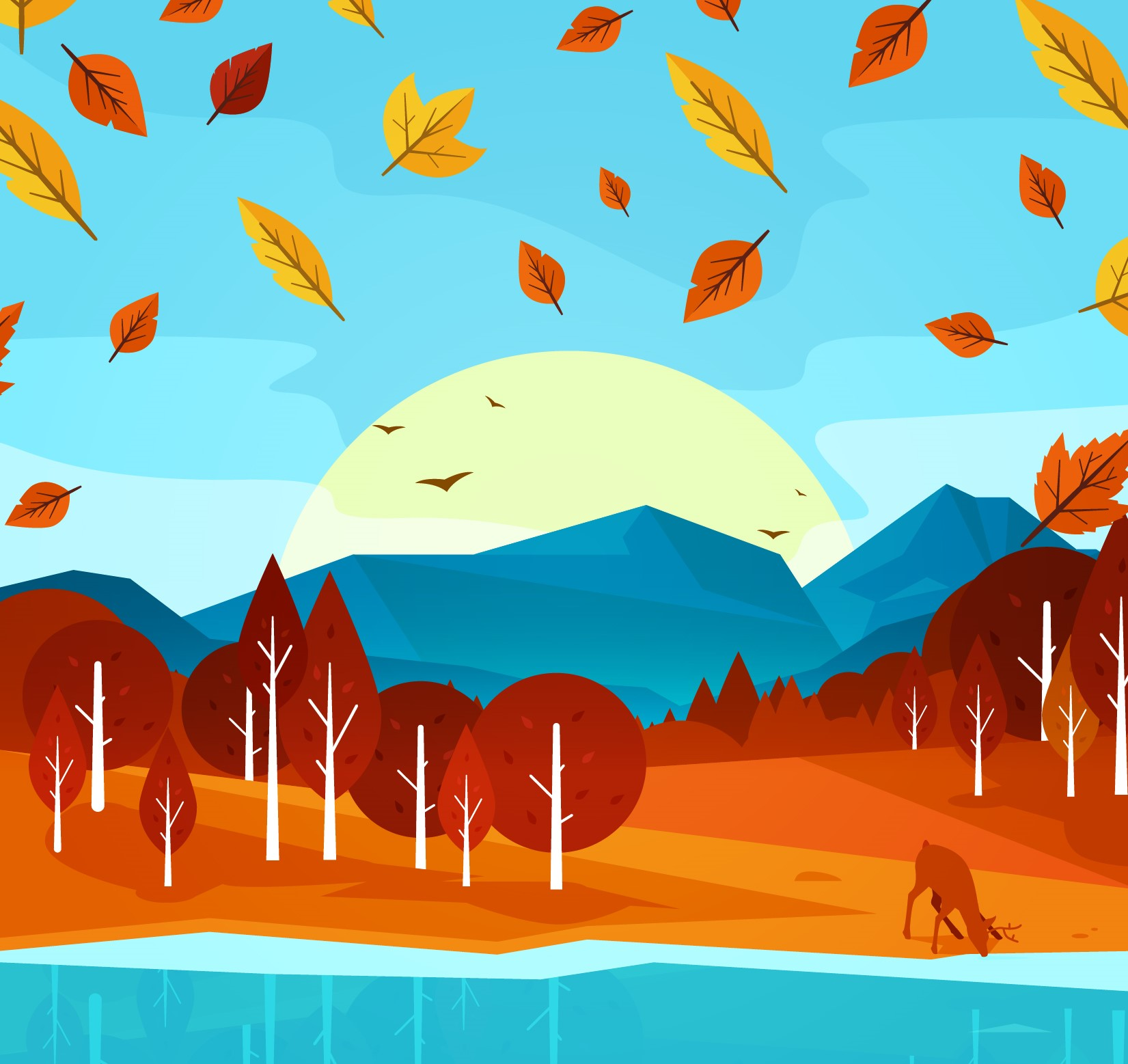 Abstract fall scene with sun setting over mountains