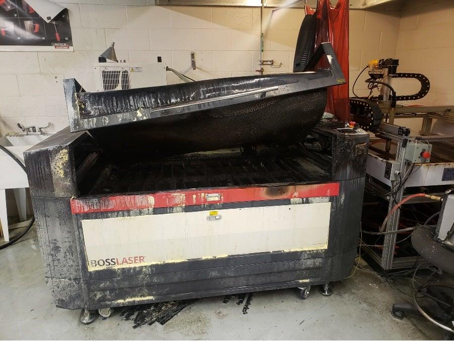 fire damaged laser cutter
