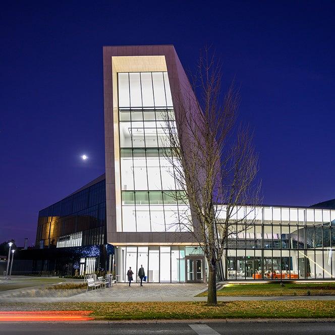 Arts building illuminated at night