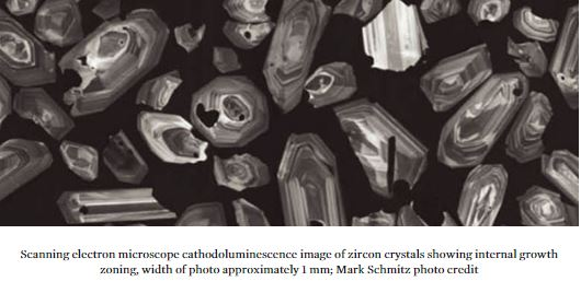 zircon crystals under electron microscope