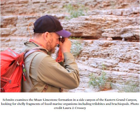 Schmitz esamines the Muav Limestone formation in a side canyon of the Eastern Grand Canyon