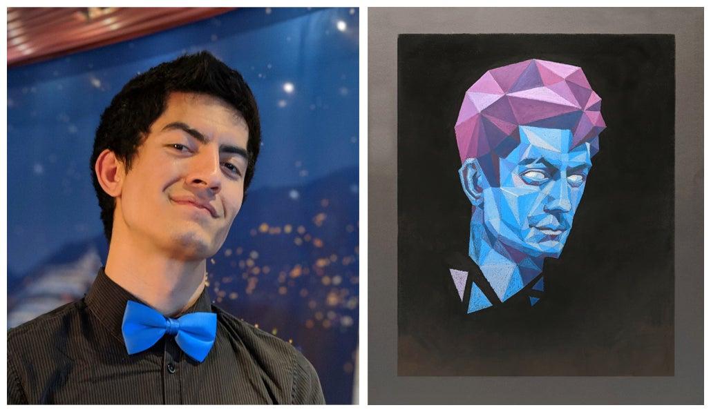 Ezra Johnson and photo of his art work