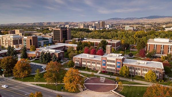 Campus aerial, B and city, Matt Crook photo.