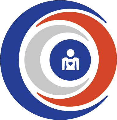 Interprofessional Education icon - blue, orange and gray moons around a person with a heart icon on their chest
