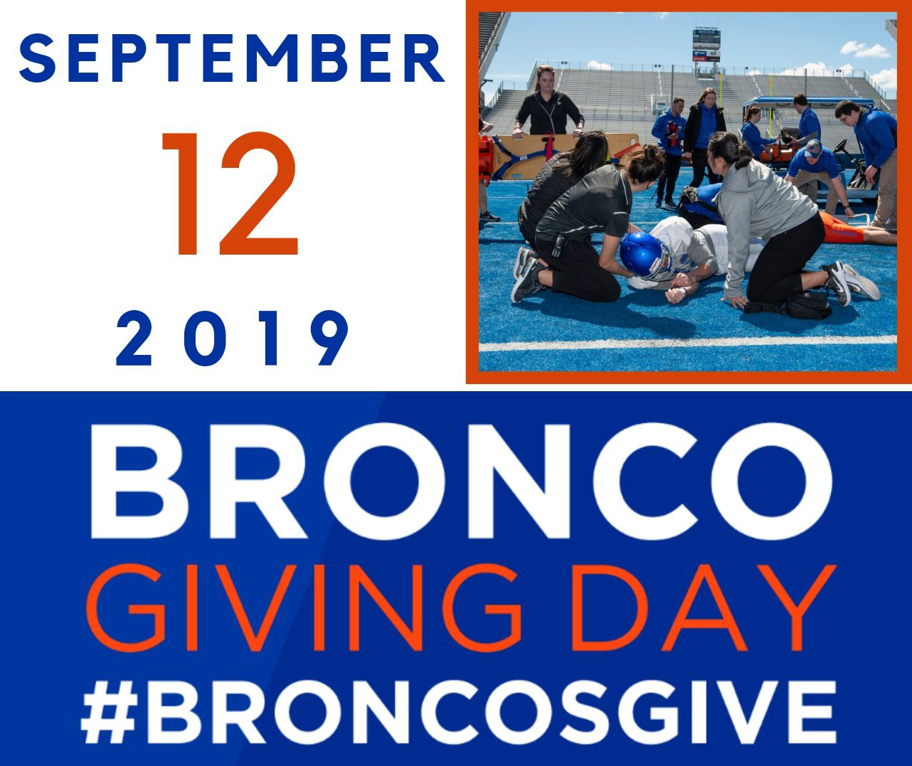 "Graphic that reads ""Bronco Giving Day September 12 2019, #BroncosGive"" with a picture in the corner of students practicing IPE"