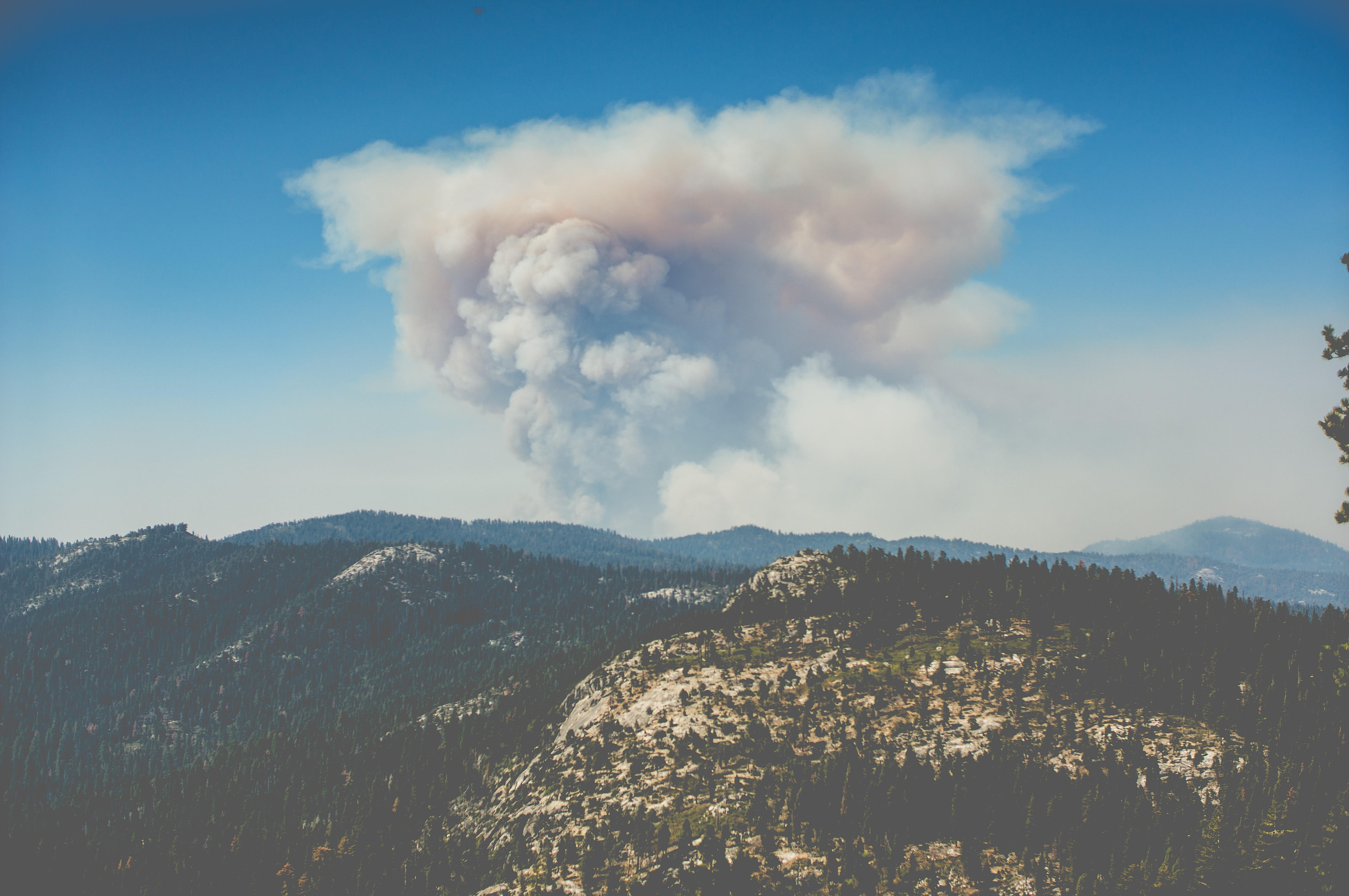 Photo of a wildfire in the distance