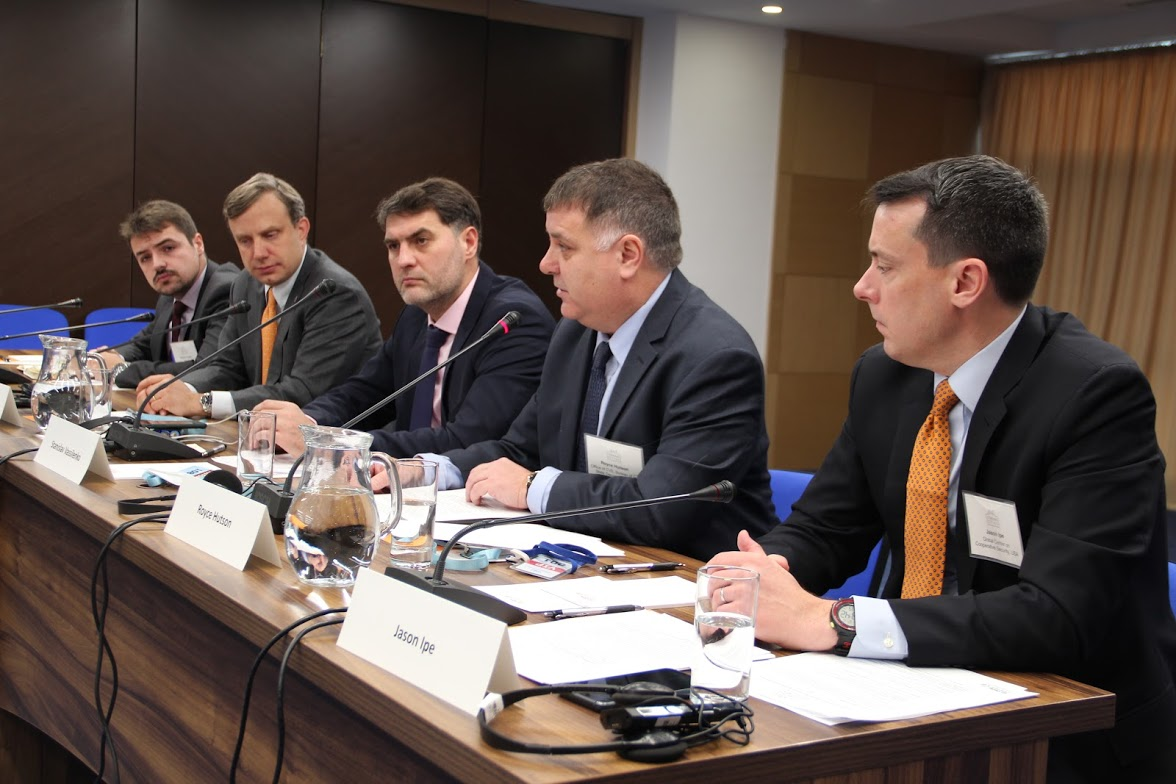 Royce Hutson, second to the right, on panel presentation in Kazakhstan
