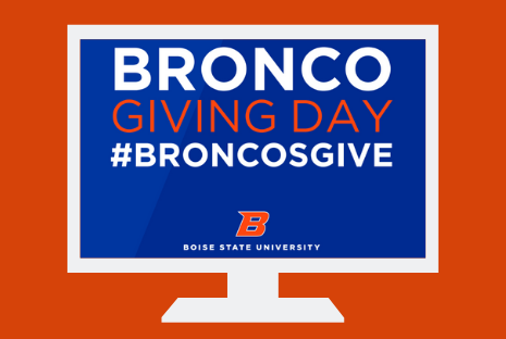 "photo of a computer screen that reads ""Bronco Giving Day"""