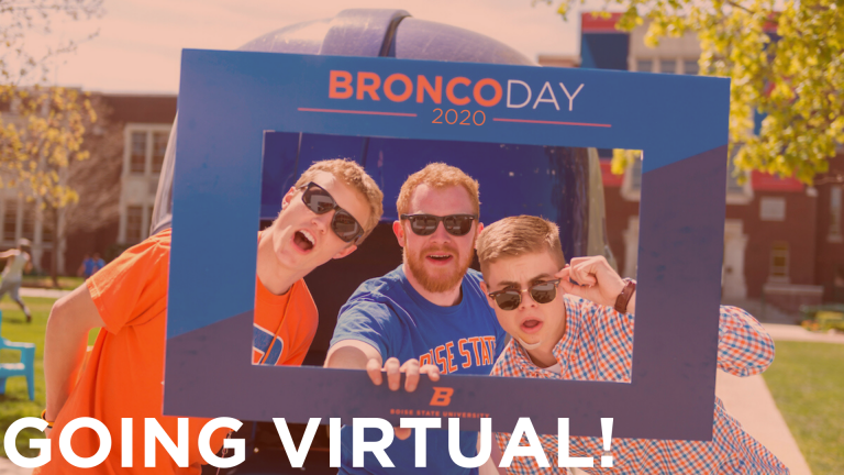 "Students at Bronco Day with the words ""Going Virtual"" over the top"
