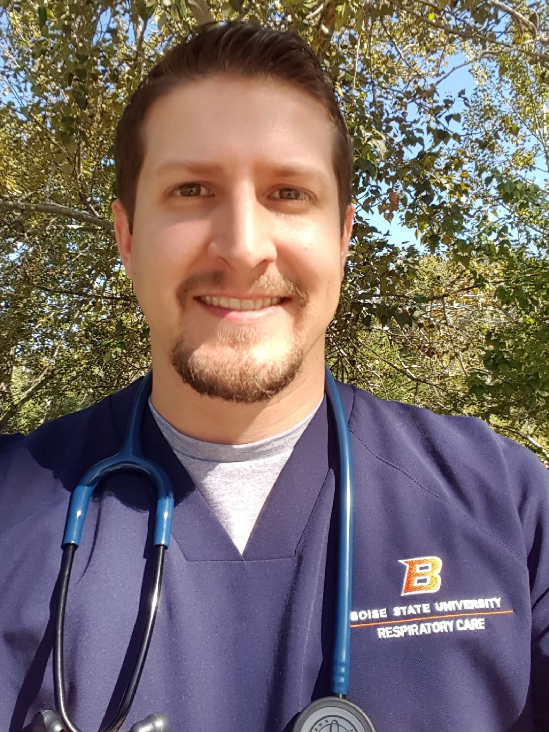 Jory Reynolds in his Respiratory Care scrubs