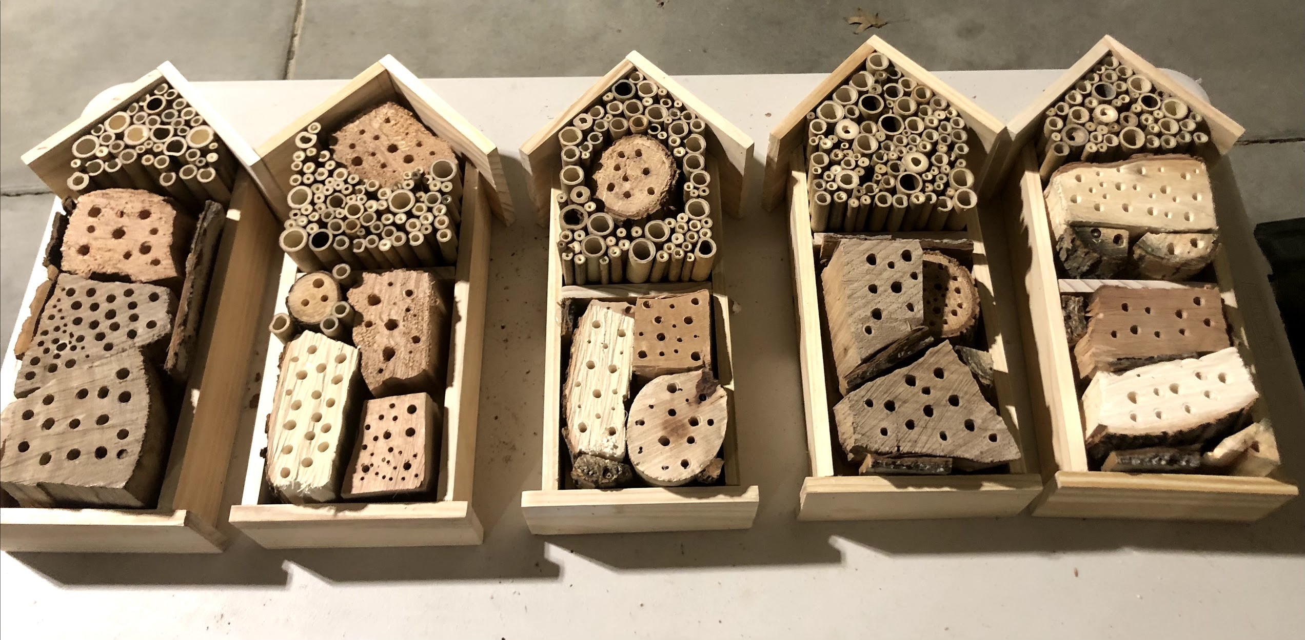five house shaped bee hotels with various holes drilled into the front