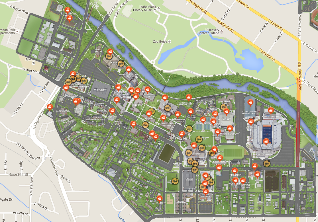 bsu map of campus Boise State Rolls Out New Online Campus Map Tours Boise State News bsu map of campus